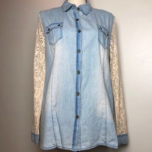 Tops - Lace Chambray Button Down in Small NWT